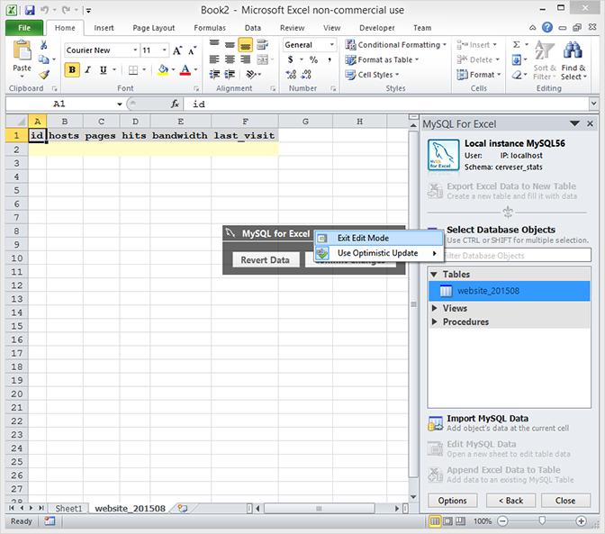 MySQL For Excel