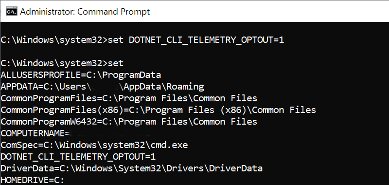 Window dotnet telemetry optout